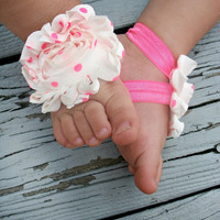 Baby Barefoot Sandals .. White with Neon Pink Polka Dots .. Toddler Sandals .. Newborn Sandals