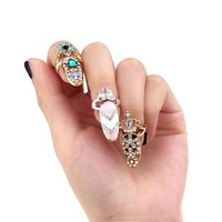 Bowknot Rhinestone Pearl Silver Gold Crown Nail Unique Ring