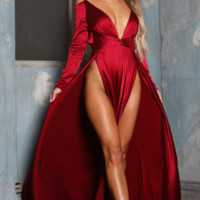 Burgundy Long Sleeves Evening Dress Prom Dress With Slits