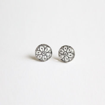 10 mm small studs, tiny studs, white studs, white stud earrings, small stud earrings, tiny stud earrings,  black and white earrings