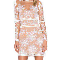 White Long Sleeve Sheer Mesh Bodycon Dress