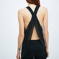 Light Before Dark Sheer Backless Cami in Black - Urban Outfitters