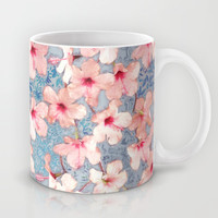 Shabby Chic Hibiscus Patchwork Pattern in Pink & Blue Mug by Micklyn