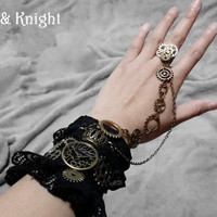 Women's Black Lace Steampunk Hand Cuff Gloves