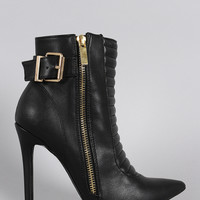 Shoe Republic LA Buckled Quilted Patterned Pointy Toe Stiletto Booties