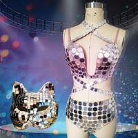 Disco Mirror Cat Mask and Bodysuit