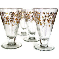 Vintage Barware Footed Cocktail Glasses with Gold 50's Theme Designs Set of 4