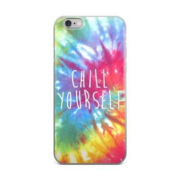 Chill Yourself Hippy Rainbow Tie Dye Teen Cute Girly Girls Red Blue Green & Yellow iPhone 4 4s 5 5s 5C 6 6s 6 Plus 6s Plus 7 & 7 Plus Case