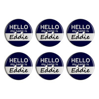 Eddie Hello My Name Is Plastic Resin Button Set of 6
