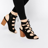 New Look Wide Fit Lace Up Block Heel Sandal at asos.com