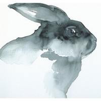 Blackie- black rabbit Art