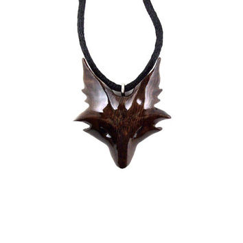 Fox Necklace, Fox Pendant, Celtic Fox Necklace, Fox Jewelry, Celtic Wooden Fox Pendant, Fox Totem Jewelry, Hand Carved Spirit Animal Pendant