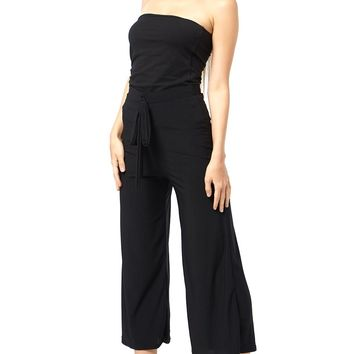 Tie-Waist High Rise Cropped Pants