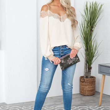 Lace Detailing Balloon Sleeve Top