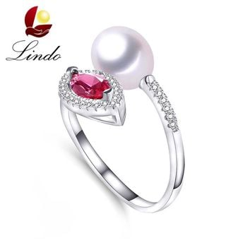 Luxury Crystal Rings For Women Wedding 925 Sterling Silver High Luster Natural Freshwater Pearl Jewelry Fashion Ring With Box