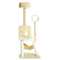 "PET PALACE 51"" Cat Kitty Tree Scratcher Play House Condo Furniture Toy Bed Post House APL1064 Beige Medium '"