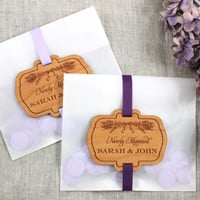 Wedding Favors with Wood Label and Botanical Plantable Confetti - Personalized