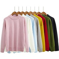 8 colors 2016 autumn and winter korean Brief candy solid color turtleneck sweaters womens sweaters and pullovers (A8687)