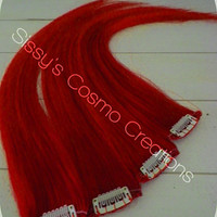 """16"""" Clip in Crimson Red for the Holidays Human Hair Extensions"""