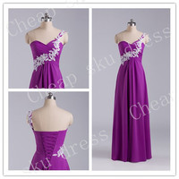 Newest Bridesmaid/Party/Evening/Prom/Formal Dress Chiffon 2014 A-Line Sweetheart Appliques One-shoulder Chiffon Lace-up Ruffle Floor-length