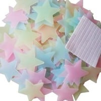 WONFAST® 100pcs/Pack Luminous Stars Glow in the Dark Fluorescent Noctilucent Plastic Wall Stickers Decals for Home Decorate Baby Kids Gift Nursery Room (3.8cm-Multicolor mixed)