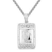 Custom Dream Chasers Dog Tag Baguette Micro Pave Pendant
