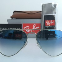 AUTHENTIC RAYBAN AVIATOR RB3025 003/3F 58MM BLUE GRADIENT LENS SILVER SUNGLASSES