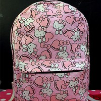 New Cartoon Hello kitty Canvas Shoulder Backpack  Bag yey-CA001-M