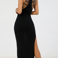 Caged Back Cowl Maxi Dress