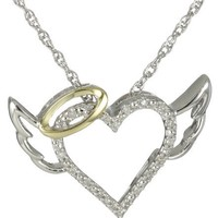 Sterling Silver and 14k Yellow Gold Diamond Winged Halo Heart Pendant Necklace, 18""