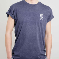 Navy FRONT AND BACK PRINTED ROLLER T-SHIRT - New In - TOPMAN USA