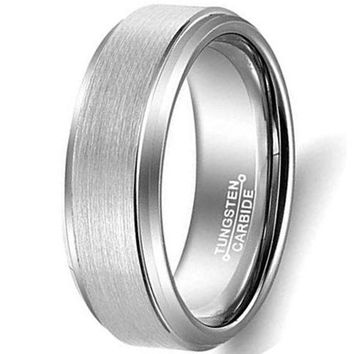 CERTIFIED 8mm Silver Tungsten Carbide Ring Simple Fashion Wedding Engagement Band Matte Finish