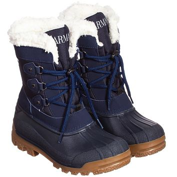 Boys Navy Blue Insulated Snow Boots
