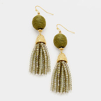 Olive Green & Gold Thread Ball Faceted Bead Tassel Drop Earrings