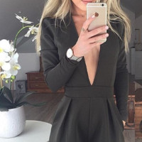 Black V-Neck Long Sleeve Romper