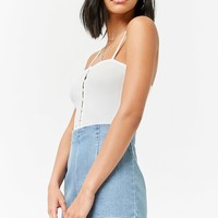Ribbed Button-Front Top