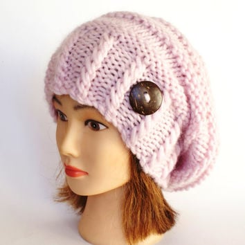 Powder pink slouch hat slouchy beanie hat chunky Knitted accessory with button Irish handmade gift for women teenager teen light pink wool