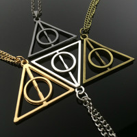 Harry Potter Deathly Hallows Necklace Fandom Jewelry Fanboy Gift Fangirl Birthday Gift Fantasy