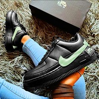 Nike Air Force 1 AF1 JESTER Transformed Crooked Sneakers Flat Shoes Black+Mint green hook