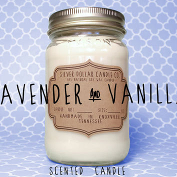 Lavender and Vanilla 16oz Scented Candle,Mason Jar Candles,Strong Scented Candles,Calming Candle,Gift Idea,Gift for Women,girlfriend gift