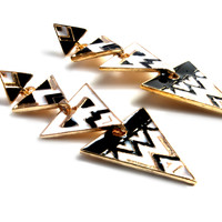 """Triangle Tribe"" Gold Earrings"