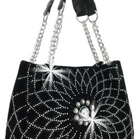 Rhinestone Radiating Design Large Chain Accented Tote In Black