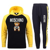 Men Hoodies Sets Tracksuit Homme Hooded Sweatshirts+pants Pullover Hoodie Sportwear Suit Casual Men Little bear print Men's Sets