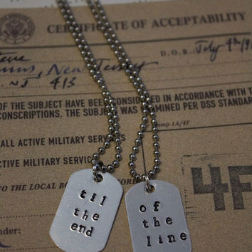 Captain America Winter Soldier Inspired Til the End of the Line Matching BFF Dogtag Necklaces