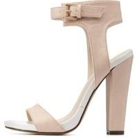 Nude Color Block Chunky Heel Sandals by Charlotte Russe