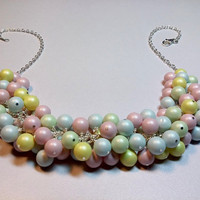 Swarovski Pastel Pink Yellow Blue Green Pearl Cluster Necklace, Mom Sister Grandmother Bridesmaid Jewelry Gift, Chunky Necklace