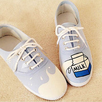 Fashion Harajuku milk cartons painted shoes