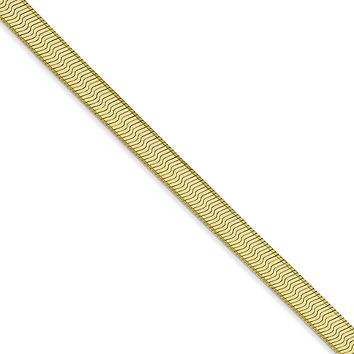 4mm 10k Yellow Gold Solid Herringbone Chain Necklace