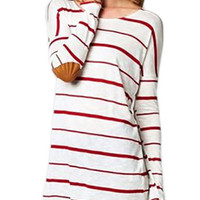 Oatmeal/Red Striped Long Sleeve Elbow Patch Top