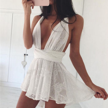New Summer women lace beach boho dress casual deep V neck sleeveless backless party dress white strap swimmwear beach DRESS